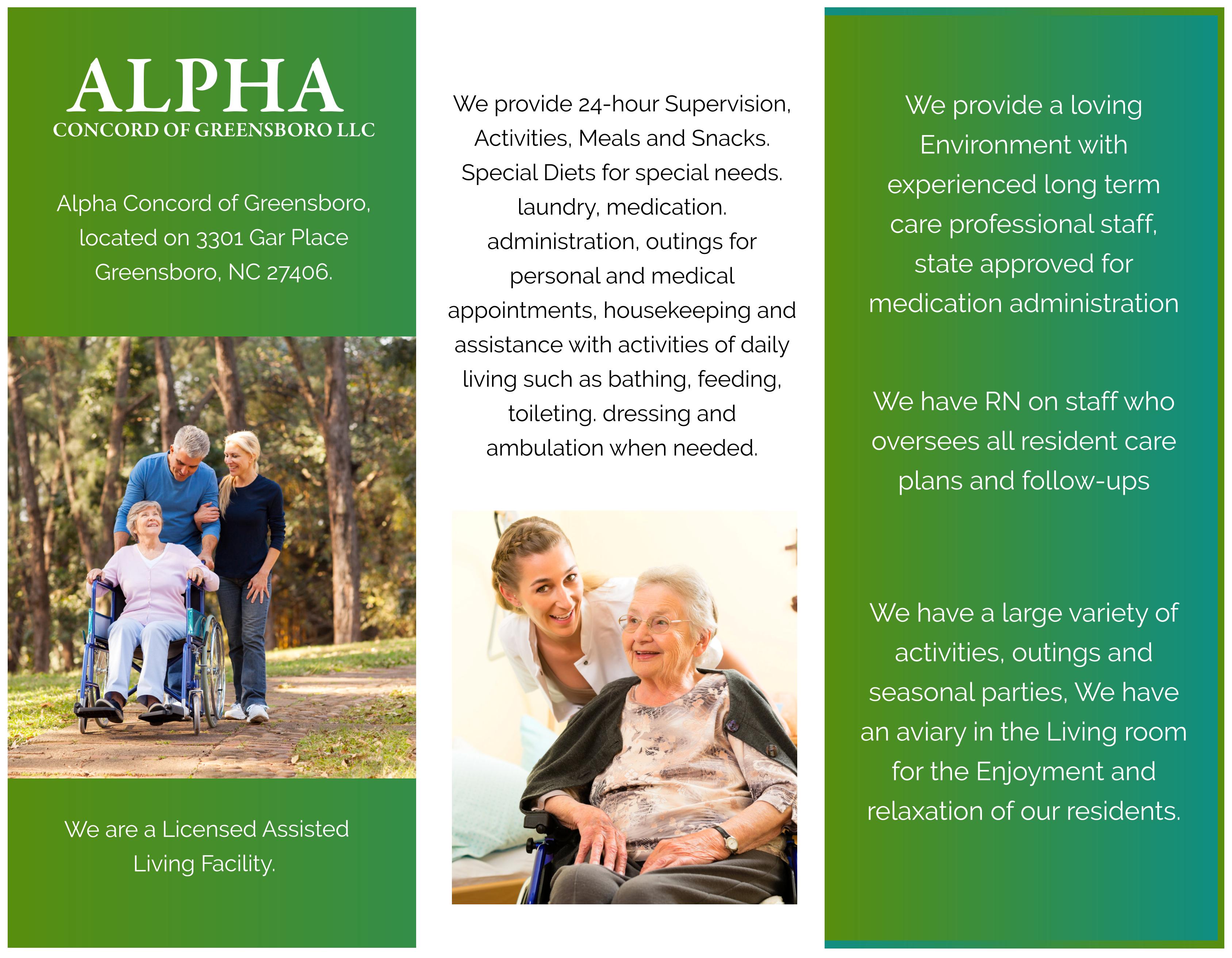 Alpha Concord of Greensboro LLC Brochure